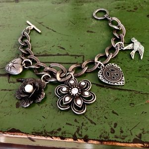 Dark silver charm bracelet